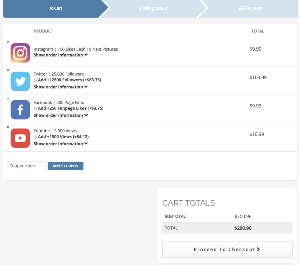 New BuySocialMediaMarketing Cart page