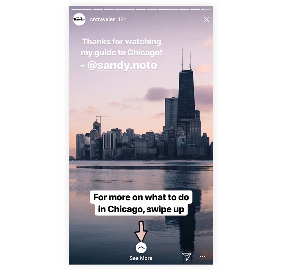 Instagram story with swipe up to see more link