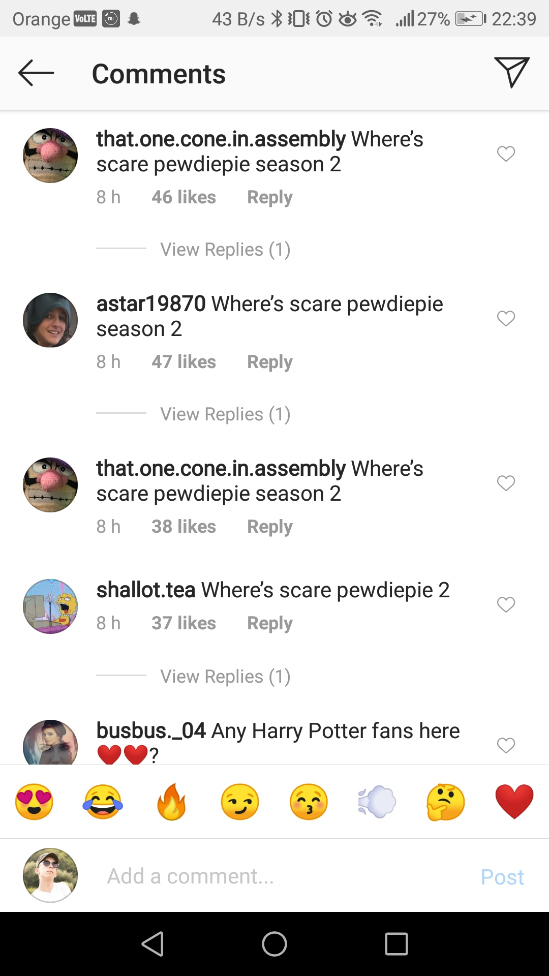 comments about pewdiepie on IG post example
