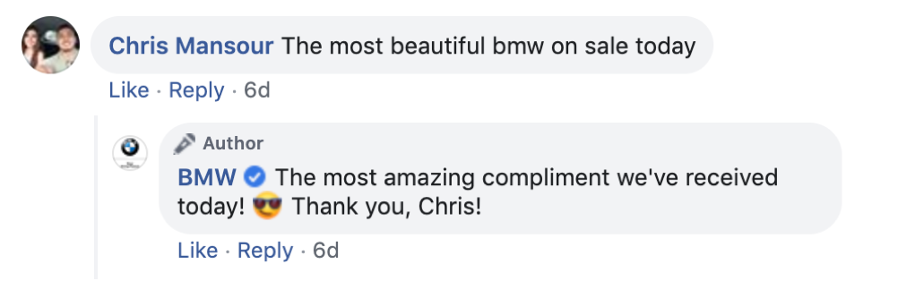 Response on a Facebook Comment by BMW page.