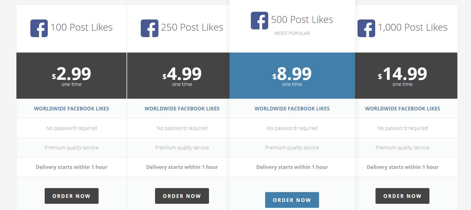 Buy Facebook post likes from BuySocialMediaMarketing from $2.99