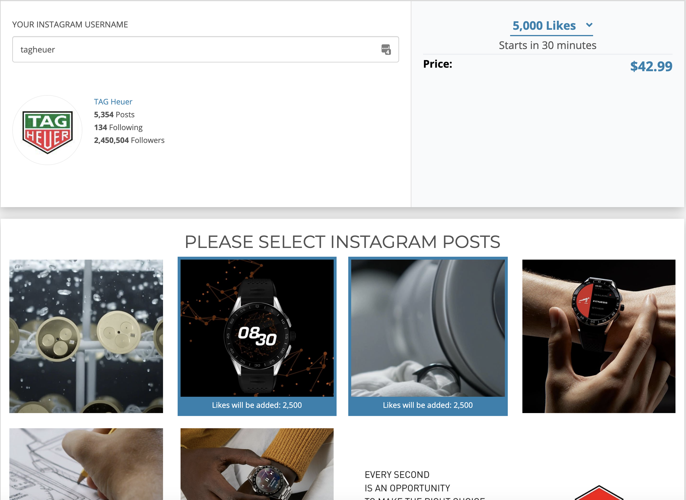 Buying instant Instagram likes from Buysocialmediamarketing.com