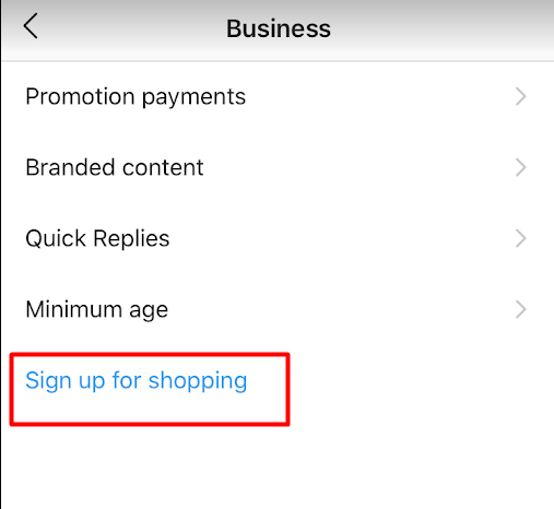 sign up for shopping feature on Instagram business account