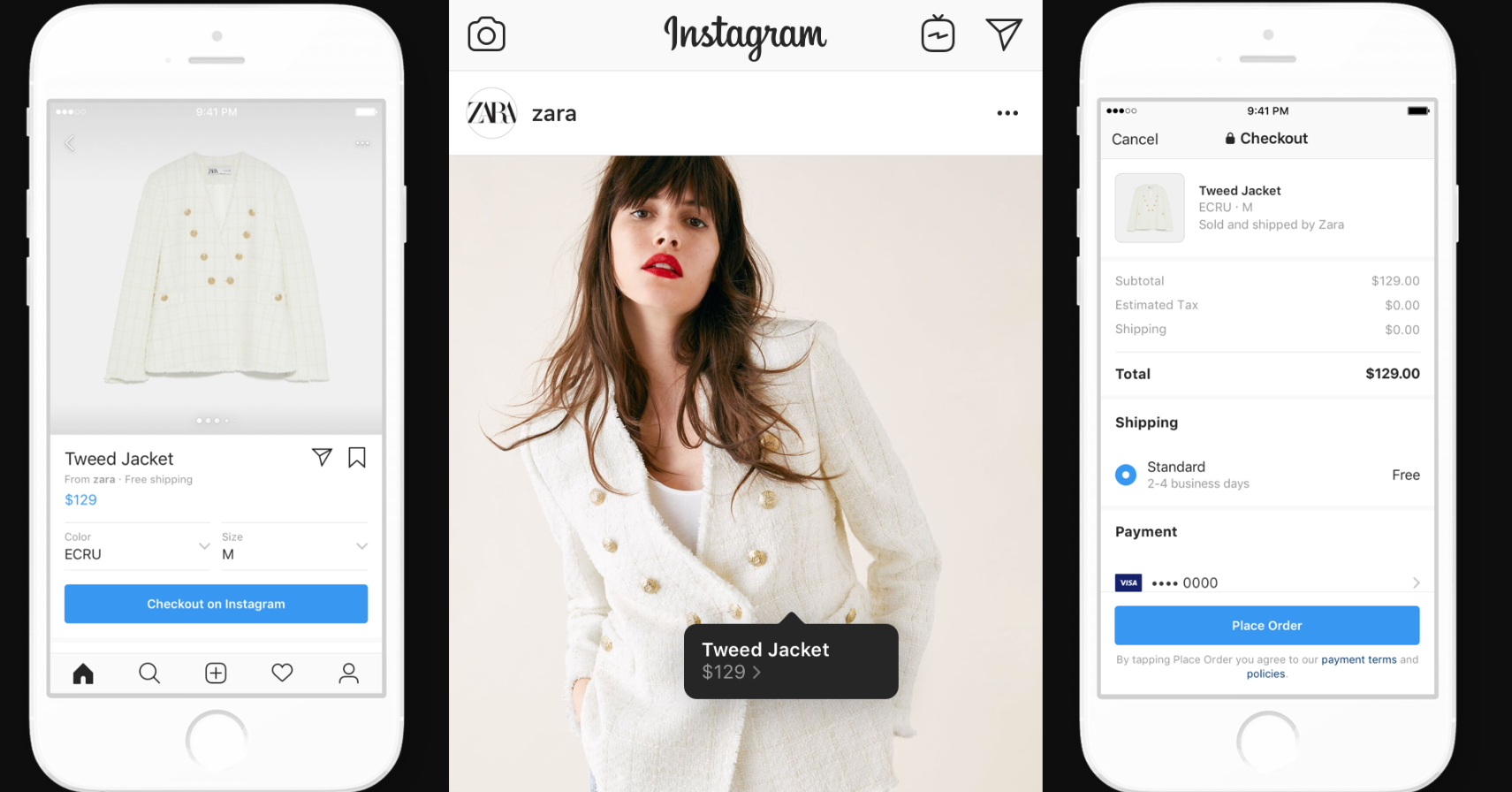 "Instagram shopping - ""in-app"" checkout example"