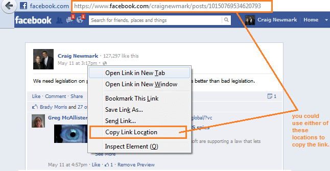 How to get Facebook post link